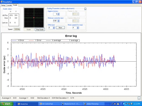 SteadyStar and control software correcting at over 13 Hz using the StarShoot AutoGuider.