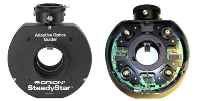 The SteadyStar unit (left). With cover removed to show the inside components (right).