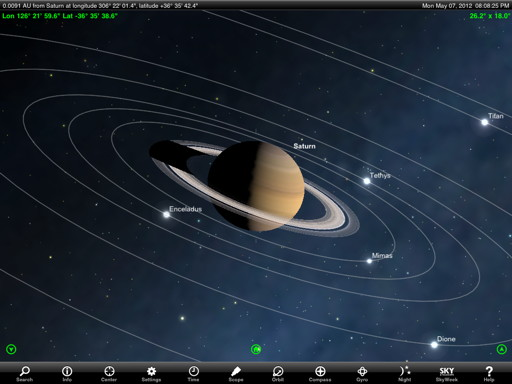 Orbit the planets with StarSeek. Tour Saturn's moons like the Cassini probe!