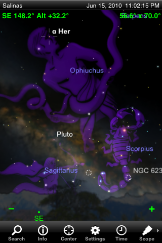 Beautiful renditions of the mythical constellation figures can be turned on or off.