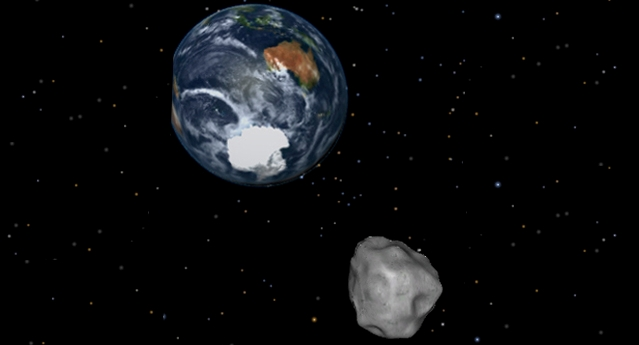 Artist Visualization of Asteroid Slipping Past Earth - Photo Credit: NASA