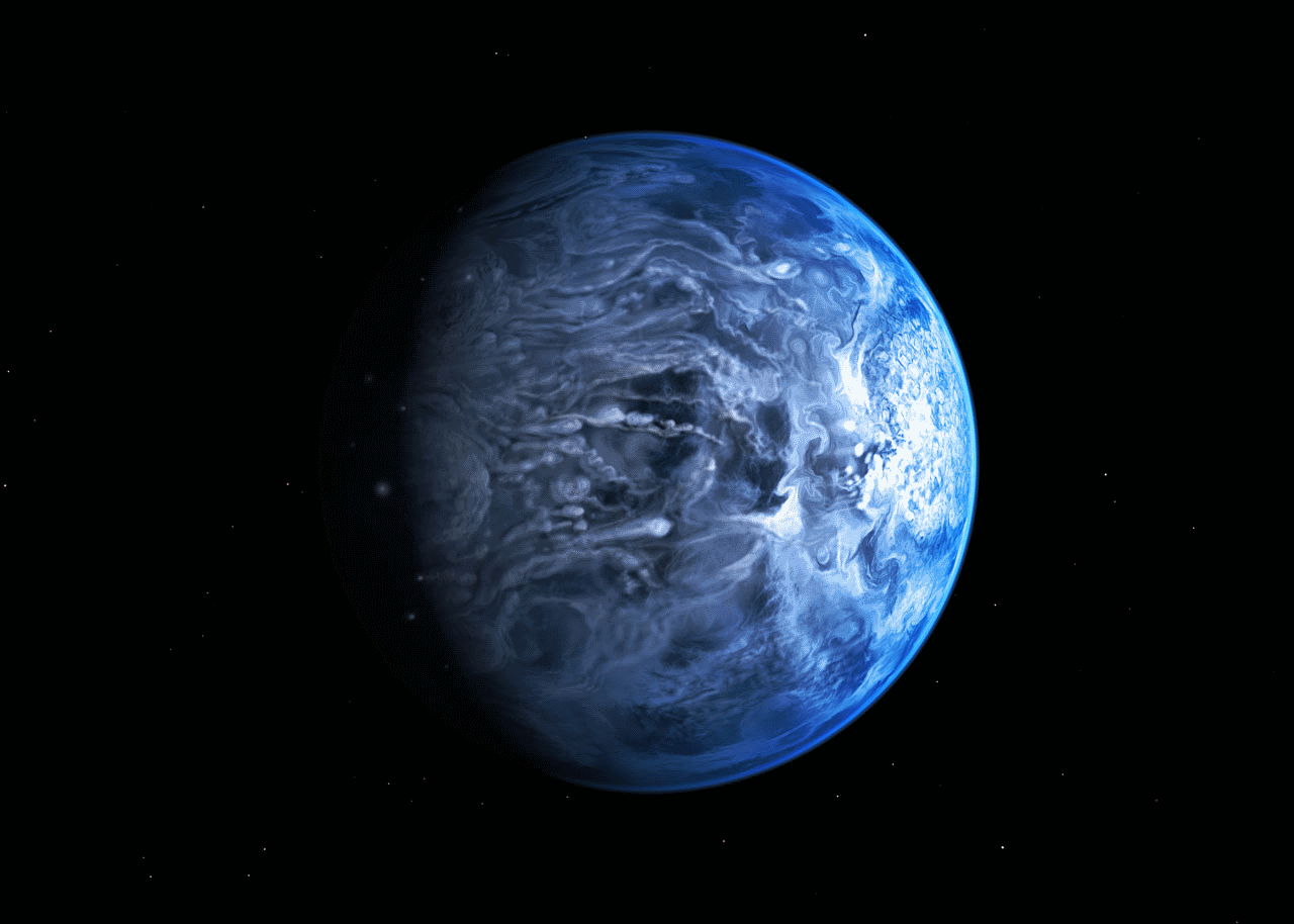 Artist's rendering of HD 189733b. Credit: NASA, ESA, M. Kornmesser