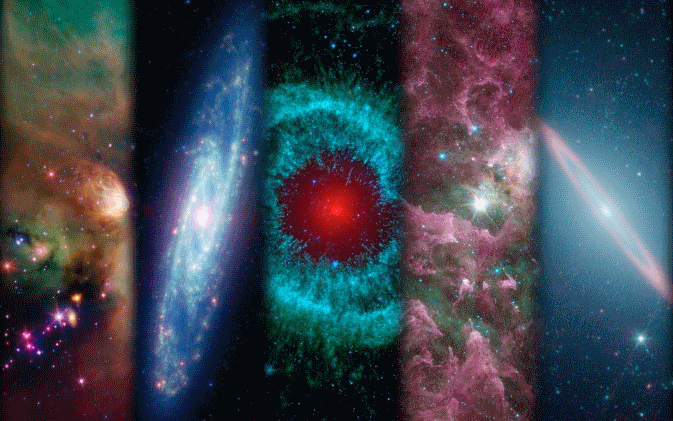 A montage of images taken by NASA's Spitzer Space Telescope over the years. Image Credit: NASA/JPL-Caltech