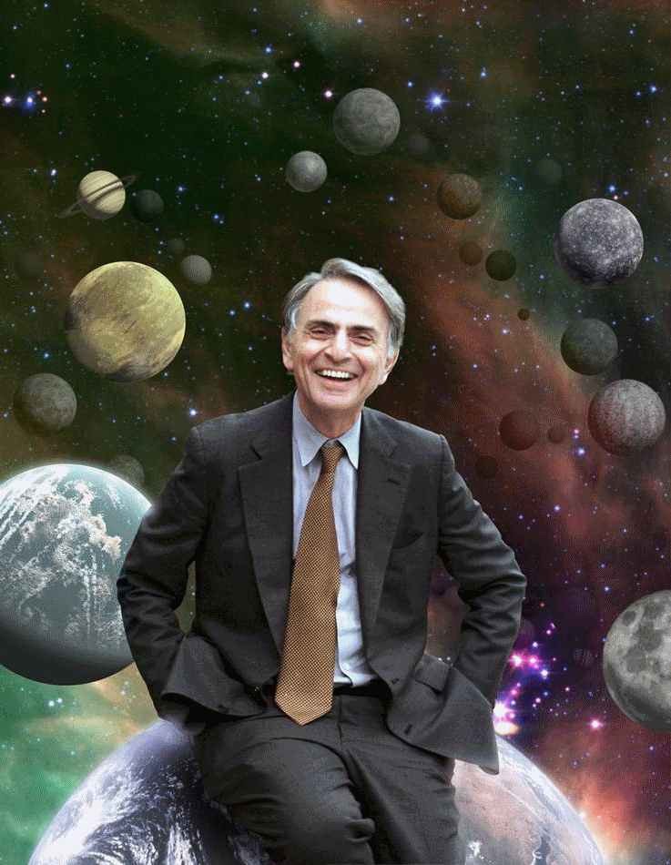 The late Carl Sagan, on top of the world. Credit: NASA/Cosmos Studios