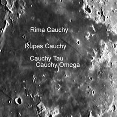 Cauchy Tau, Cauchy Omega, Rupes Cauchy and Rima Cauchy