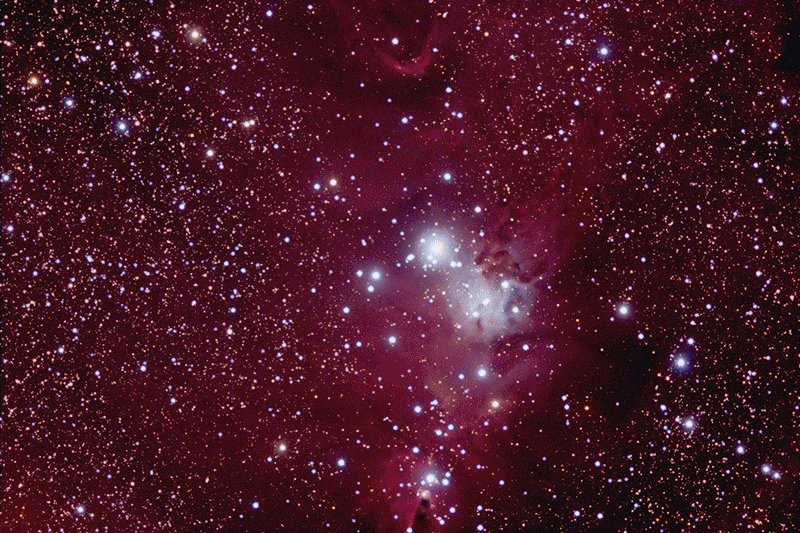 NGC 2264 taken while forgetting the little things! One night, 30 - ten minute exposures, EON120 scope, Atlas Mount, StarShoot Pro IV Camera, post processing in Photoshop. By Doug Hubbell.