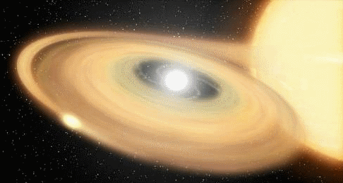 Artist's conception of a white dwarf and a companion star. The white dwarf, the bright white object within the disk, sucks matter from its more sedate companion star. The star eventually emits a huge flash of light. (Image: NASA)