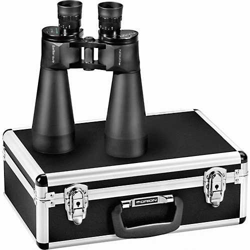 The Orion Giant View Astronomy Binoculars come with a heavy duty aluminum case.