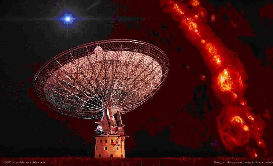Image: CSIRO's Parkes telescope with illustration of 'radio burst' flash in the sky. The red background is gas in our galaxy. Credit: Swinburne Astronomy Productions
