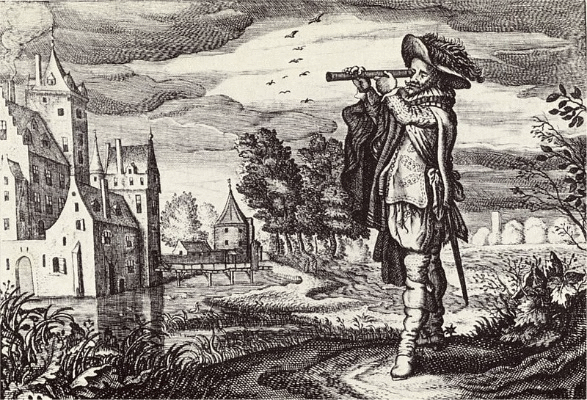 Print engraved by Adriaen van de Venne shows early depiction of a Dutch telescope, 1624.