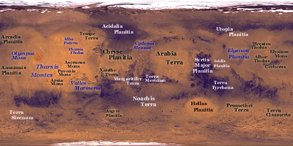Map of the surface of Mars. Can you pick up any in your telescope?