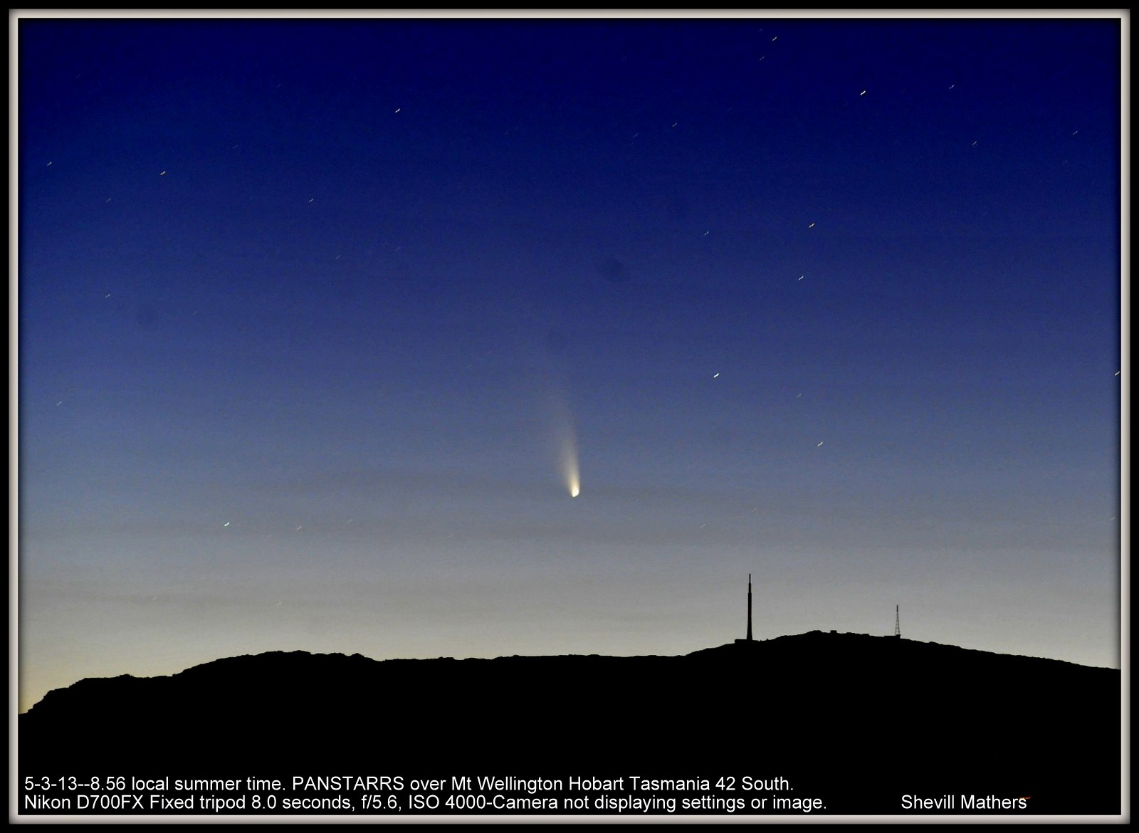 Comet PANSTARRS Courtesy of Shevill Mathers March 5, 2013