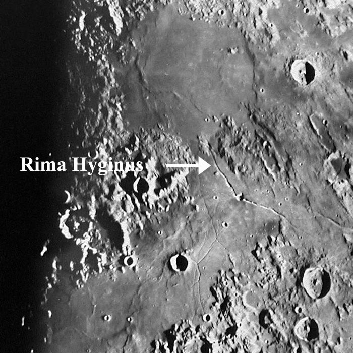 Rima Hyginus area is a favorite target.