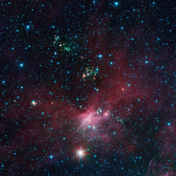 Image: Dozens of newborn stars sprouting jets from their dusty cocoons have been spotted in images from NASA's Spitzer Space Telescope. In this view showing a portion of sky near Canis Major, infrared data from Spitzer are green and blue, while longer-wavelength infrared light from NASA's Wide-field Infrared Survey Explorer (WISE) are red.