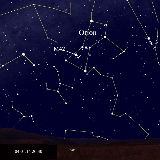 Sky chart of M42's location on 4.1.14. Starry Night Pro