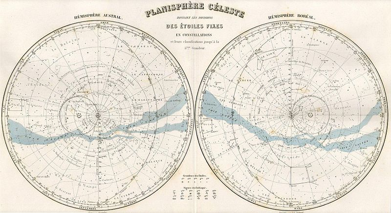 This hand colored celestial map of the Stars and Constellations is a steel plate engraving, dating to 1878 by the well regarded French cartographer Migeon.