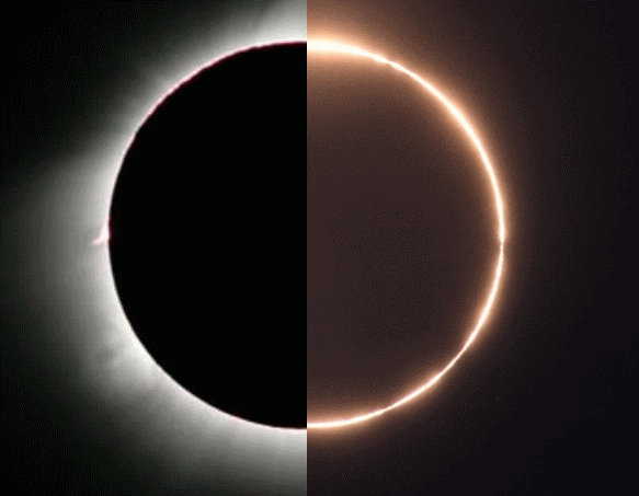 Hybrid Solar Eclipse of April 8, 2005. Left: Total eclipse, Right: Annular. Credit: NASA
