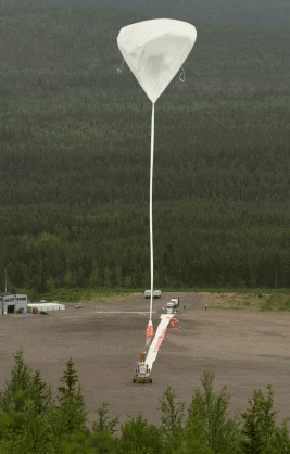 Caption:  The balloon rises into the sky. Only when it is positioned exactly above the solar observatory, will the launching vehicle release its load.  (Credits: MPS)