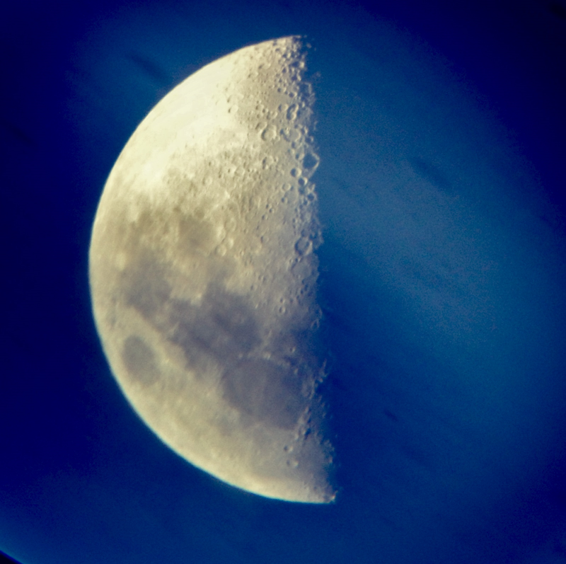 First Quarter Moon through an XT8 Dobsonian, at Orion's last star party. Credit: Maria Grusauskas