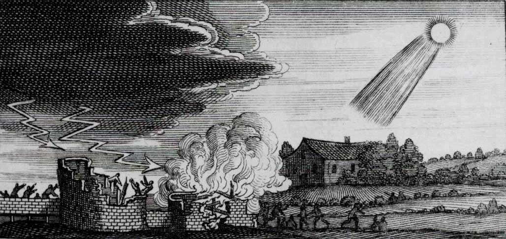 Woodcut showing the destructive influence of a 4th century comet, by Stanilaus Lubienietski's Theatrum Cometicum (Amsterdam, 1668.) Credit: NASA/JPL