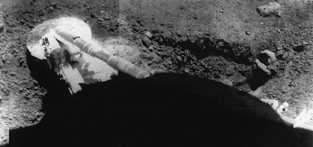 Surveyor 5 Footpad Resting On Lunar Soil - Credit: Surveyor 5/NASA