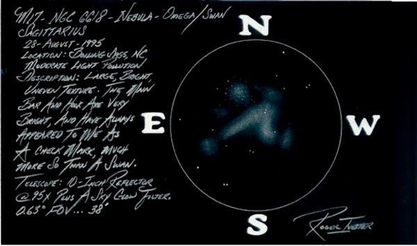 M17, The Omega Nebula, or Swan Nebula, sketched by Roger Ivester in his backyard in North Carolina. Colors inverted on a scanner.
