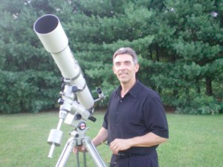 Ivester with his 4-inch Orion/Vixen refractor.