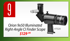 #9: Orion 9x50 Illuminated Right-Angle CI Finder Scope (#7020) - $129.99