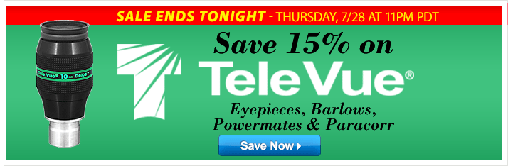 Save 15% on Tele Vue - Ends Tonight